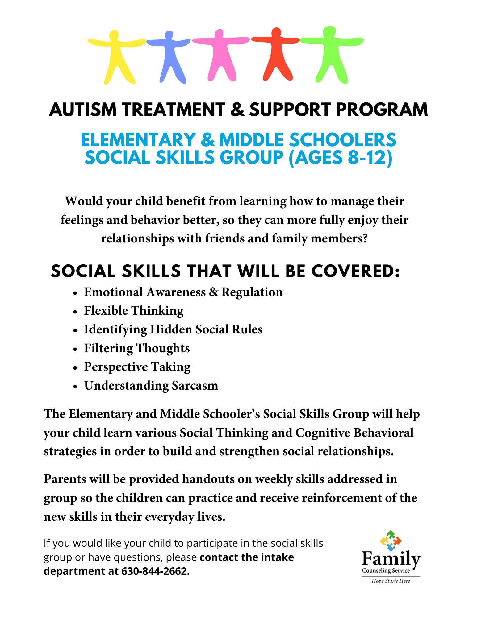 Autism Clinic Elementary Middle School Social Skills Group Flyer
