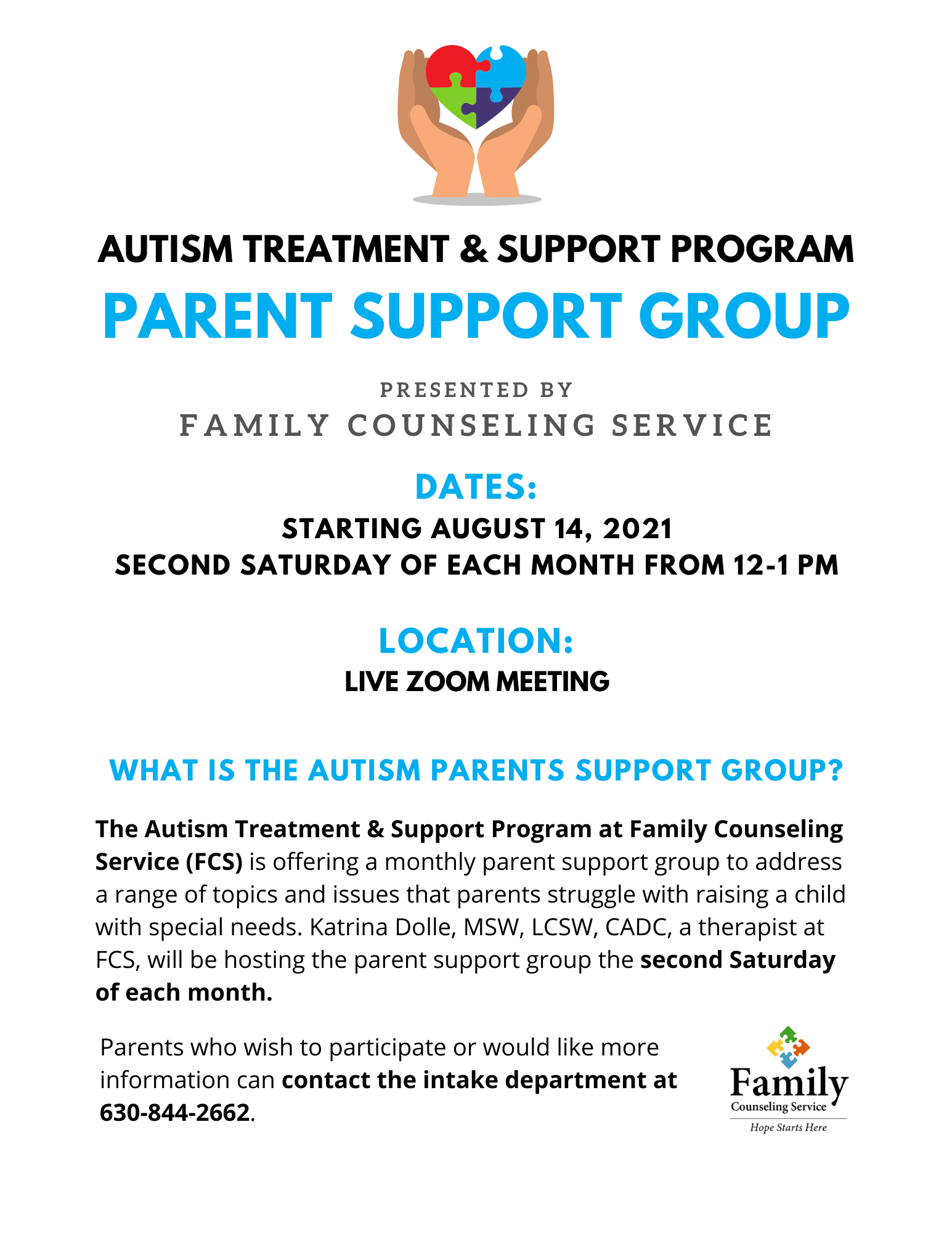 Autism Clinic Parent Support Group August Start 1