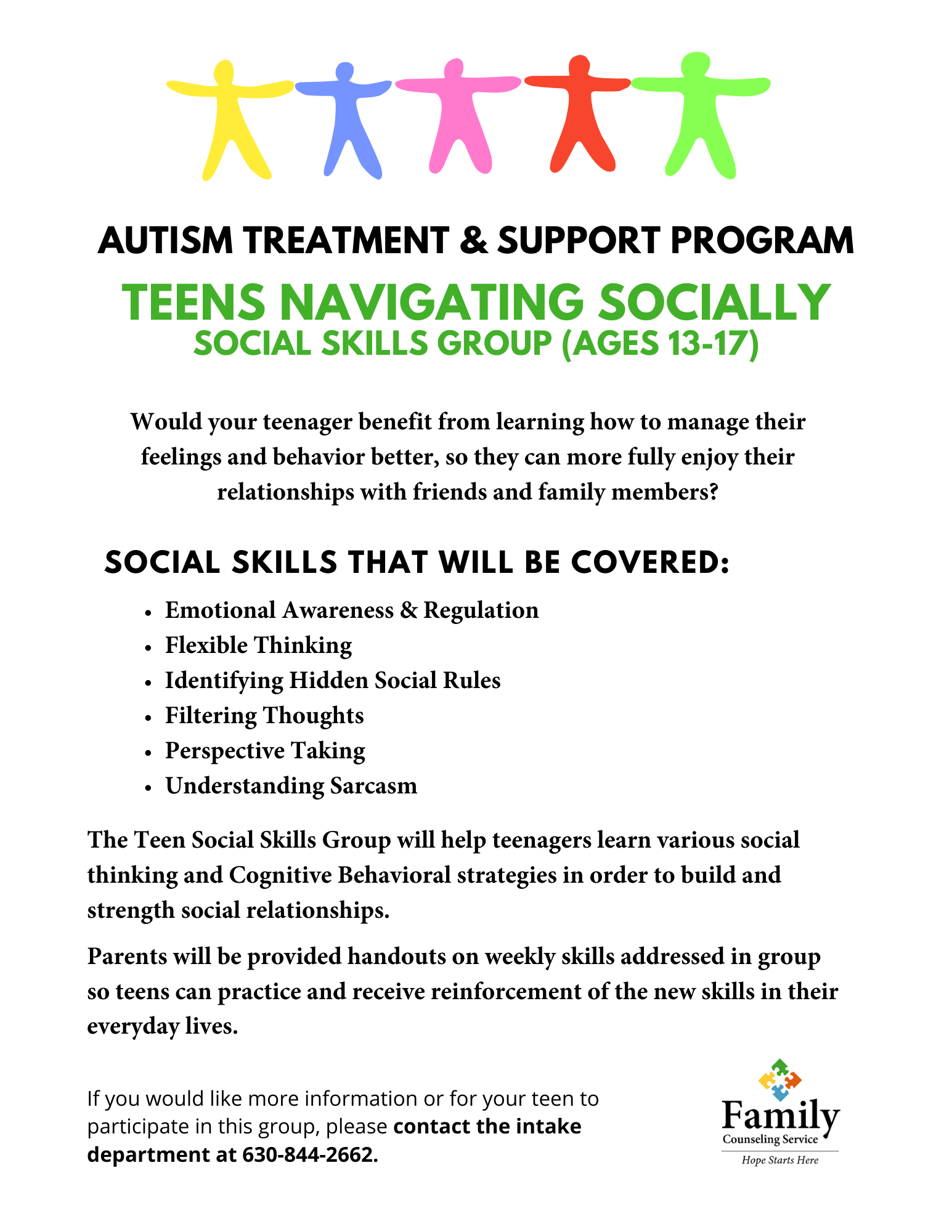Autism Clinic Teens Social Skills Group Flyer